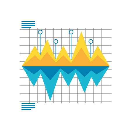 data analysis graph showing falling and rising statistics detailed vector illustration