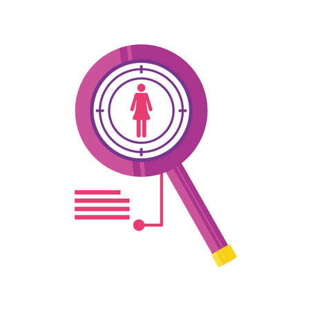 data analysis female avatar magnifier detailed vector illustration