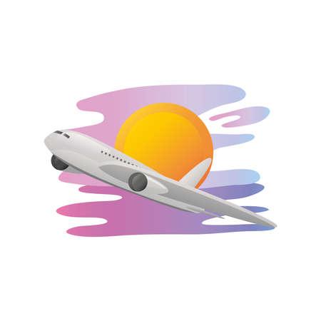summer vacation travel, flying airplane sunset scene vector illustration detailed style
