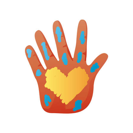 world down syndrome day, hand with paint spots and heart vector illustration