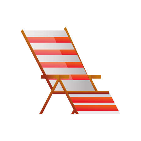 summer vacation travel, striped deck chair furniture vector illustration detailed style 일러스트