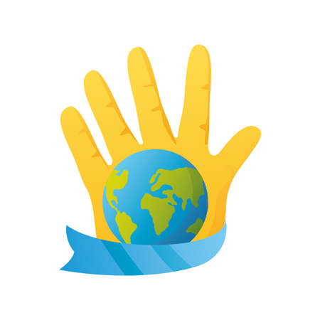 world down syndrome day, hand with world and ribbon vector illustration