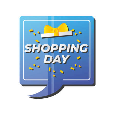 shopping day, speech bubble lettering announce vector illustration detailed