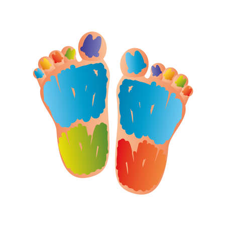 world down syndrome day, childs feet with color strokes vector illustration