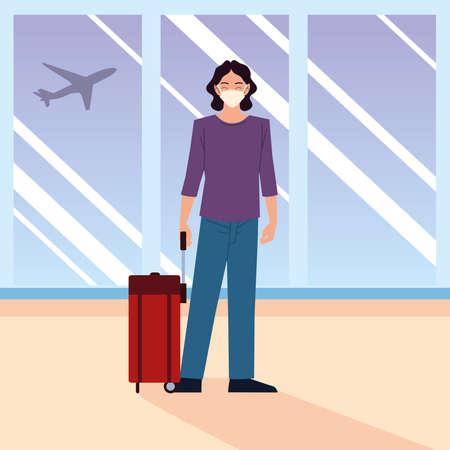 airport new normal, happy man wearing protective mask with suitcase vector illustration