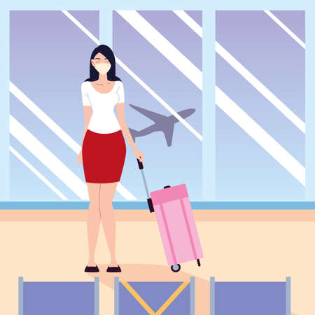 airport new normal, young woman with protective mask and bag waiting plane vector illustration