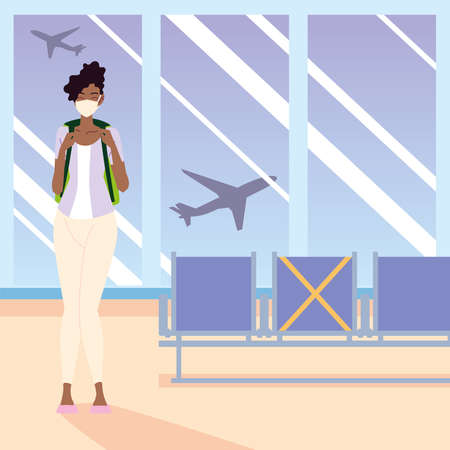 airport new normal, young afro american woman with mask and backpack waiting for flight vector illustration