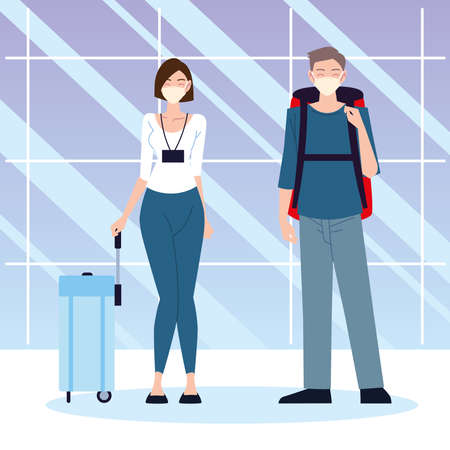 airport new normal, young woman and man with bagagge and proective masks vector illustration