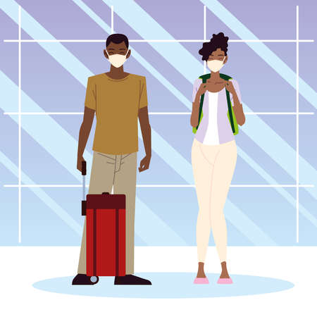 airport new normal, afro american couple with suitcase and backpack vector illustration