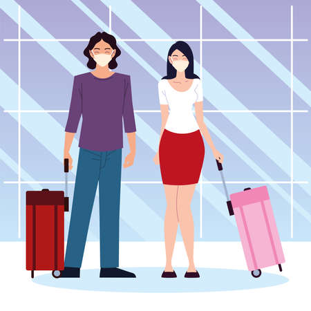airport new normal, happy couple with suitcases standing together vector illustration