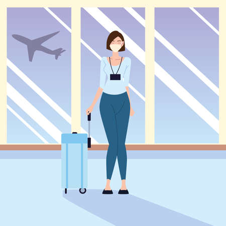 airport new normal, young woman traveling during pandemic and personal protection vector illustration
