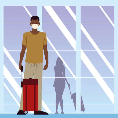 airport new normal, young man with suitcase traveling during pandemic vector illustration 版權商用圖片 - 157144685