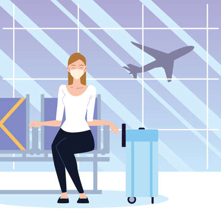 airport new normal, woman with mask and suitcase sitting waiting vector illustration