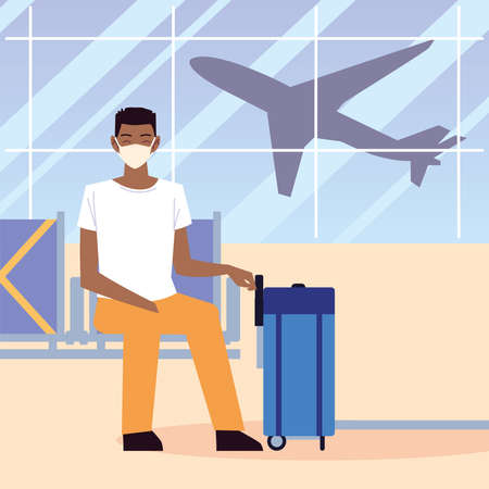 airport new normal, afro american man with mask and suitcase sitting waiting vector illustration