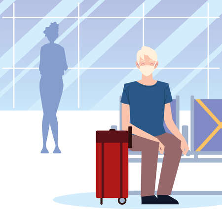 airport new normal, man with mask and suitcase sitting waiting vector illustration