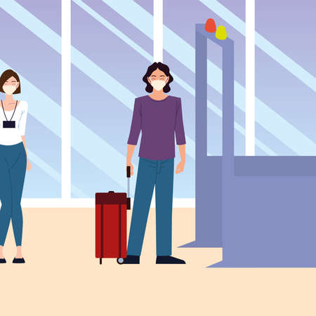 airport new normal, people wear medical mask and keep distance at tickets counter queues vector illustration 版權商用圖片 - 157144693