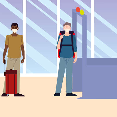 airport new normal, people wearing face mask and keep distancing vector illustration
