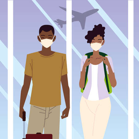airport new normal, young travelers with luggage waiting vector illustration 版權商用圖片 - 157144696