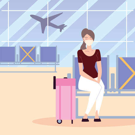 airport new normal, woman sitting with protective mask and suitcase vector illustration