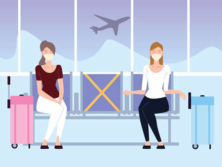 airport new normal, young women with social distancing waiting flight vector illustration
