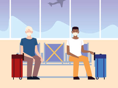 airport new normal, passenger wearing face masks and waiting for flight vector illustration 版權商用圖片 - 157144711