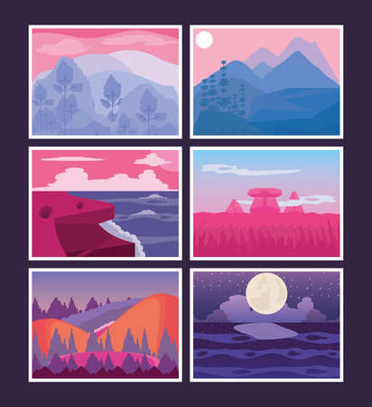 landscapes sunset night rocky ocean anture collection icons vector illustration