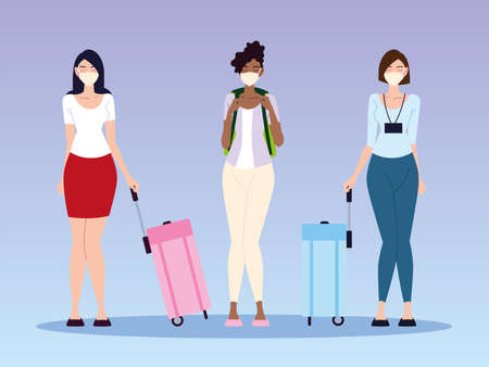 airport new normal, group women characters with masks and suitcases vector illustration 版權商用圖片 - 157144713