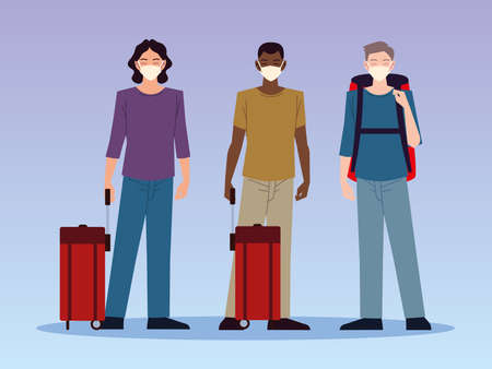 airport new normal, young men characters travelers with masks and luggage vector illustration
