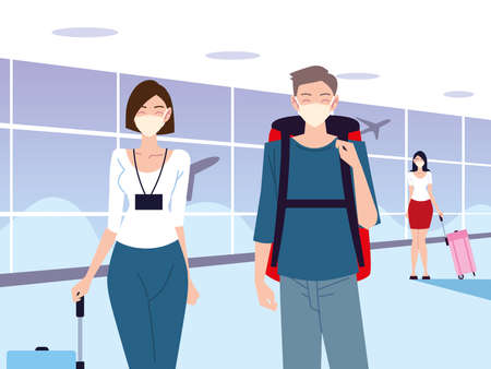 airport new normal, young people with protective masks keeping social distance vector illustration 版權商用圖片 - 157144715
