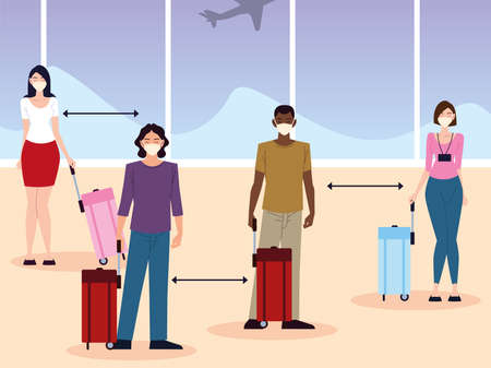 airport new normal, group people social distance between passengers vector illustration