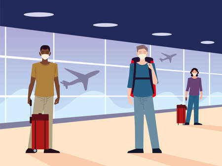 airport new normal, people with masks and physical distancing vector illustration 向量圖像