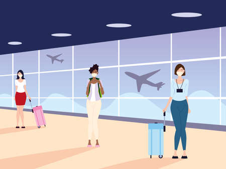 airport new normal, women with masks and physical distancing vector illustration