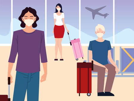airport new normal, passengers with masks and suitcases waiting flight keeping social distance vector illustration