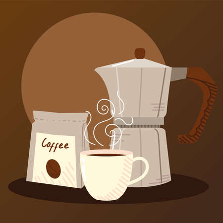 coffee brewing methods, moka pot hot coffee cup and pack grains vector illustration
