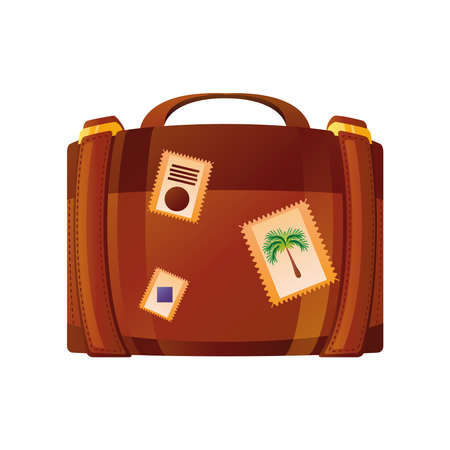 summer vacation travel, suitcase with stickers, flat icon style vector illustration vector illustration detailed style Ilustração