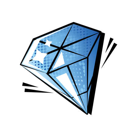 diamond gemstone pop art style on white background vector illustration design 向量圖像