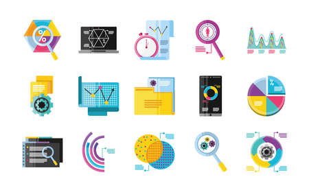 data analysis, different chart diagram business financial development icons detailed vector illustration