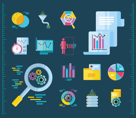 data analysis, pack of icons chart financial funnel file report detailed vector illustration Vektorové ilustrace