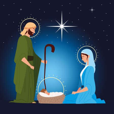 nativity, manger sacred family traditional celebration religious vector illustration Vectores