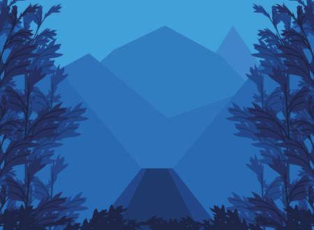 landscape rocky mountains peaks and forest vegetation vector illustration