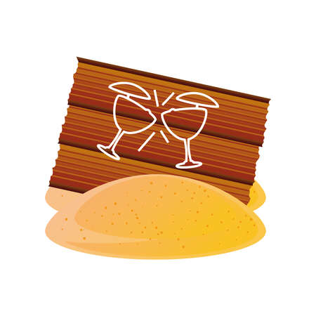 summer vacation travel, wood board bar cocktails in sand vector illustration detailed style
