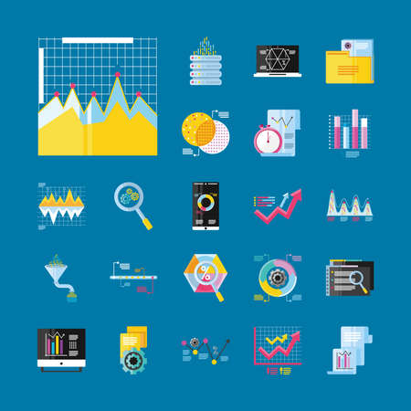 data analysis, icons business financial report diagram process detailed vector illustration