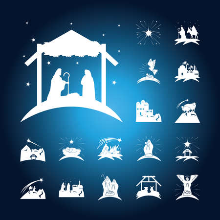 nativity, birth of christ traditional celebration religious, icons blur blue background vector illustration