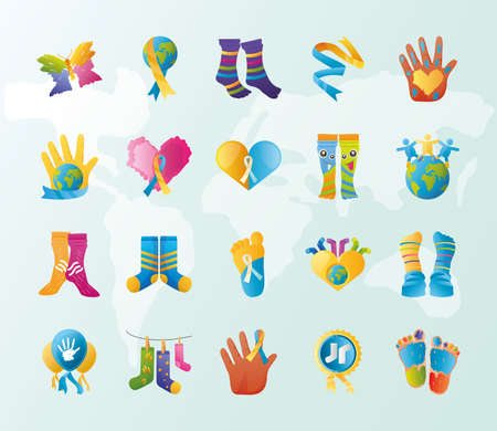 world down syndrome day, support awareness icons wold background vector illustration 向量圖像