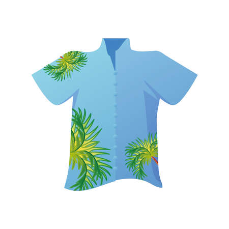 summer vacation travel, male shirt tropical leaves print vector illustration detailed style