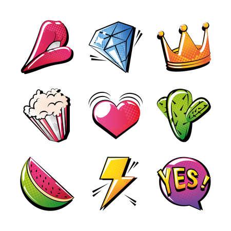 set of icons pop art style on white background vector illustration design