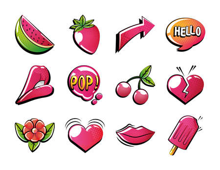 set of icons pop art style in white background vector illustration design