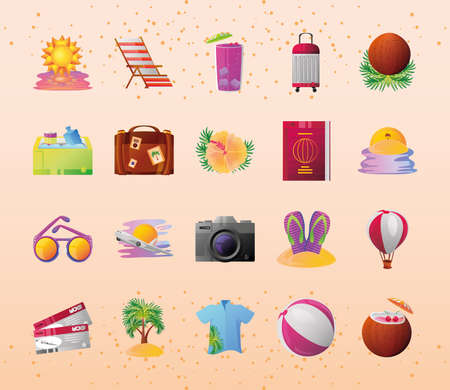 summer vacation travel, icons related recreation adventure and tourism vector illustration detailed style