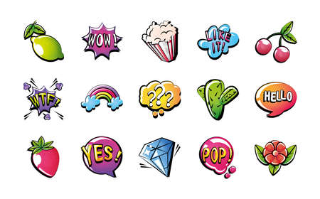 set of icons pop art style over white background