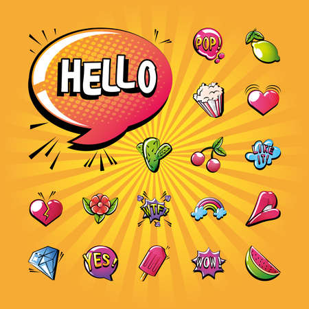 set of icons pop art style in comic background vector illustration design